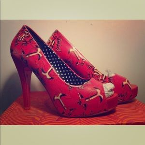 Iron first peep toe heels